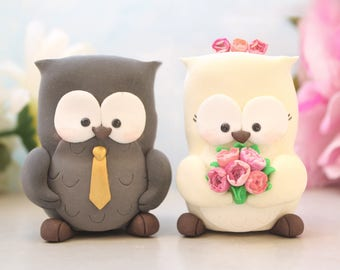Owls wedding cake toppers - bride groom figurines personalized elegant funny rustic country grey love birds gold pink ivory wedding decor