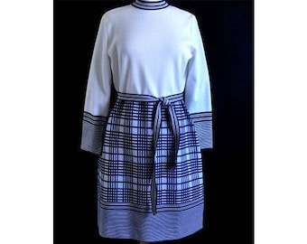 1960s Barnsville Park Suite Collection Navy Blue and White Striped and Plaid Polyester Knit Vintage School Girl Belted Dress