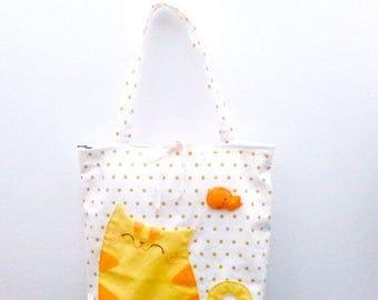 cat bag, cute bag, cat tote bag, shoulder bag, tote bag, handbag cat, cute tote bag, gift for cat lovers, daughter gift, school bag