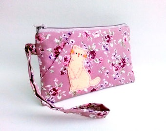Wristlet wallet iPhone 6s plus cat clutch purse handmade zipper bag samsung galaxy note floral cotton purse zipper pouch iPhone pouch