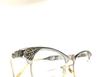 Rhinestone CatEye Glasses HighGloss Aluminum Chromey Sunglasses Embellished Metal A bit Larger VTG Eyeglass Frame Hollywood Screen Star