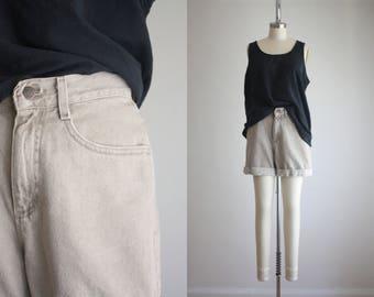 taupe denim shorts
