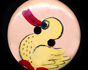 Button--Small Vintage Hand Painted Wooden Duckie