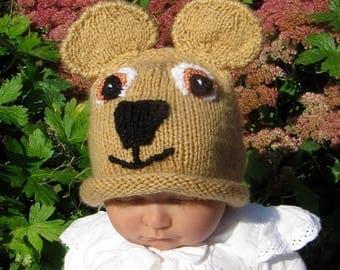40% OFF SALE knitting pattern only digital pdf download- Baby Teddy Bear Beanie Hat knitting pattern pdf download