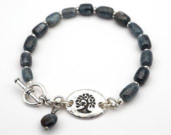 Kyanite bird in tree bracelet, blue semiprecious stone beads, silver, 8 inches long