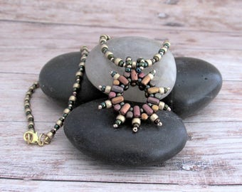 Seed Bead Stitched Pendant - Beaded Star Necklace - Star Pendant - Starburst Necklace - Boho Star Necklace - Beaded Boho Star Necklace