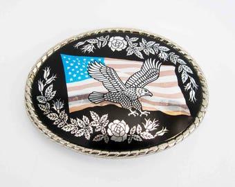 Vintage Bald Eagle and American Flag Belt Buckle. Circa 1980's.