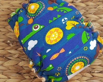 Later Gator! - One Size (11-35#) Bamboo/OBV Fitted Cloth Diaper