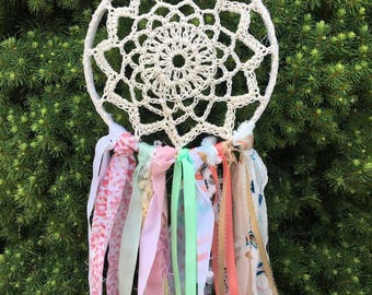 """Dream Catcher, Boho style Coral and Mint dreamcatcher 6"""" handmade Party Decoration or Room Decor.  CUSTOM COLORS also available"""