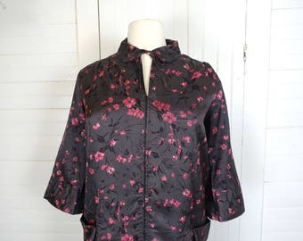 40s / 50s Plus Size Robe / House Dress / House Coat- Carob Brown & Berry Pink- Peter Pan Collar-