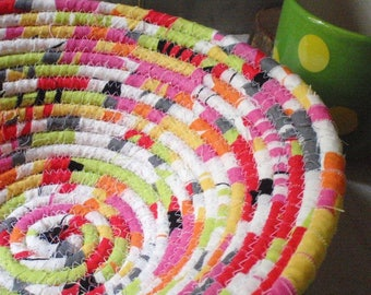 Bright Colored Coiled Fabric Basket - Catchall, Organizer, Neon Green, Bright Pink, Splashy Colors