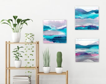 Original Abstract Triptych, Abstract Landscape Paintings, Boho Home Decor, blue white purple lavender - Meditations on Clarity