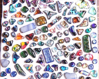 Lot of 140 Dichroic Fused Glass Beads Cabs Cabochons