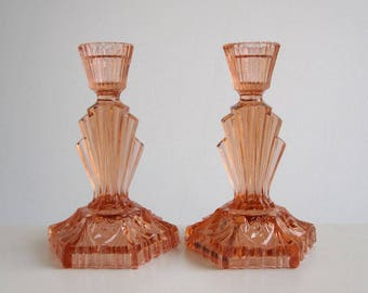 Pair of Art Deco salmon pink glass candlesticks / Vintage candle holders