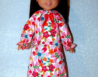 """Spring Sale Nightgown for 14"""" Wellie Wishers or Melissa & Doug Doll Clothes red-orange-blue tkct1091 READY TO SHIP"""