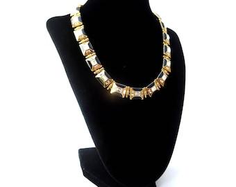 Monet Signed Gold Tone Metal Black Enamel & Clear Rhinestone Rectangular Link Extendable Choker Necklace
