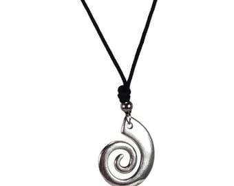 Spiral silver pendant necklace on black cord  - Greek jewelry - tribal jewelry - Gift for him - Zamac pendant