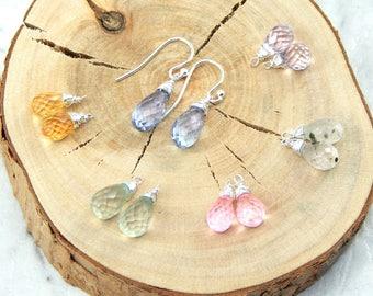 Interchangeable Earrings Set,Set of Six Microfacted Gemstone Earrings,Sterling Silver,Set of Six Earrings