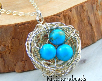 Bird Nest Necklace,Turquoise Egg Nest,Birds Nest With Three Eggs,Nest Necklace,Sterling Silver Chain