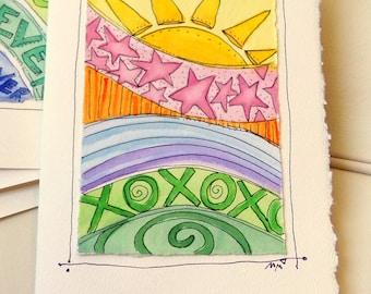"Summer Hugs And Kisses Watercolor Original Strathmore Card 5"""" x 6 7/8"" & Envelope Card Blank  betrueoriginals"