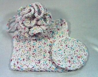 3 Piece Bath Set - Bath Puff, Face Cloth, Scrubbie - Crocheted - Cotton Yarn White Confetti - Pamper Yourself - Nice Gift Set Adult or Kids