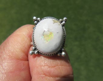 WHITE WONDER from WEST Mexico - Sterling Silver Mexican Jelly Opal Ring - Size 10 - Free Resizing
