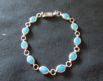 Vintage Sterling Silver Turquoise Bracelet - BLUE BEAUTY STONES