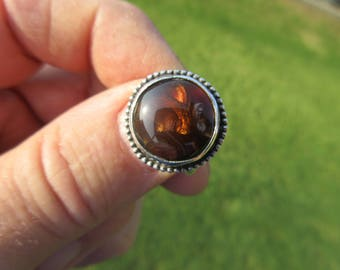 FRENZY of FABULOUS FIRE - Sterling Silver Mexican Fire Agate Ring - Size 8 1/2