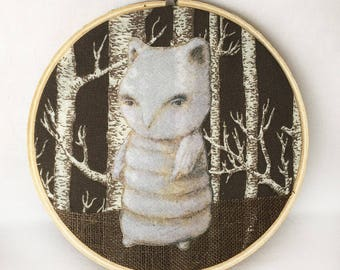 Chouette Cheveche  (color cotton applique fabric collage in hoop frame)