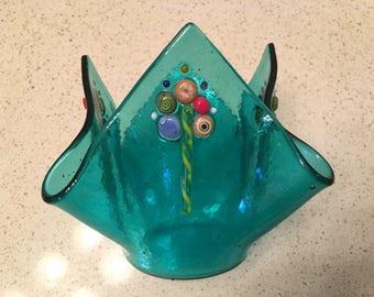 Candle Cup, Vase, Turquoise Aqua Fused Glass, Murrini Latticino Art Glass, Votive Holder, Handmade, Gift, Luminaria, Home Decor