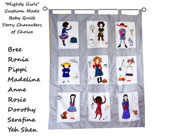 Mighty Girls  Custom Made Baby Quilt/ Wall Hanging/ Strong Female Storybook Characters/ Personalized Keepsake Heirloom