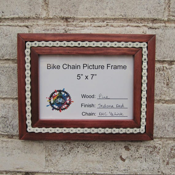 Recycled Bicycle Chain Inlay Picture Frame