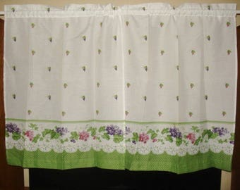 VINTAGE grapes curtains set 2 panels 1 wide swag