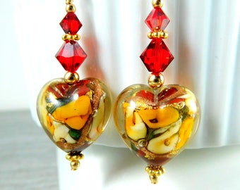 Rose Heart Dangle Earrings, Red Ivory Yellow Gold Floral Murano Glass Earrings, Valentine's Day Earrings, Romantic Pretty, Gold Filled