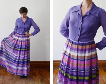 1970s Purple Striped Maxi Dress - S/M