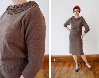 French Knit 50s/60s Brown Sweater and Skirt Knit Set - S/M
