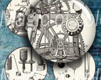 Vintage Science - 63    1 Inch Circle  JPG images - Digital  Collage Sheet