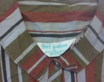 VTG striped Sears Fashions dress full skirt button-up, Peter Pan collar, Medium