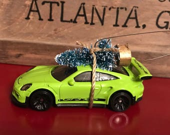 Porsche 911 Carrying Christmas Tree Ornament