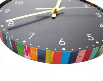 colorful round wall clock - made from recycled magazines, colorful,  unique, kitchen clock, you choose your own color, circle, bright, fun