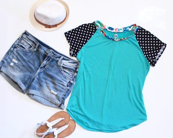 Teal Green Womens Tshirt, Summer Tops For Women, Print Mixing, Polka Dot Fabric Sleeves