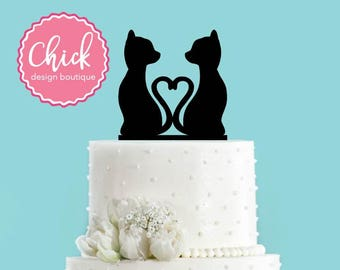 Cats in Love, Tails Create Heart Acrylic Wedding Cake Topper