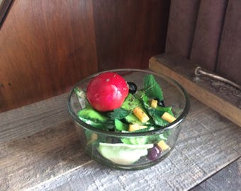 "Fake Garden Salad Italian Dressing 4-1/2"" Bowl Faux Food Photo Prop"