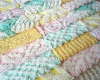 "Vintage Chenille Bedspread Squares -Pink, Yellow and Aqua Pastel- 21-6"" - PRETTY"