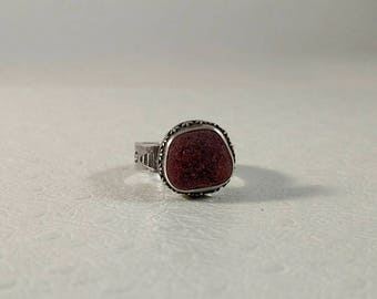 Rare Red English Sea Glass Silver Stamped Band Ring Size 6.5