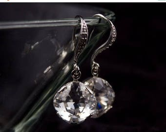 ON SALE Bridesmaid Jewelry Set of 6 Square Crystal Wedding Earrings