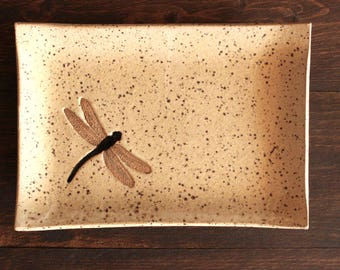Ceramic DRAGONFLY Soap Dish - Handmade Speckled Cream Stoneware Dragonfly Insect Soap Dish - Multipurpose Dish - Ready To Ship