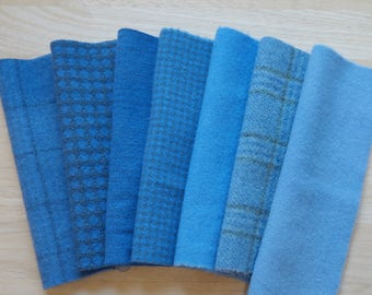 Blue - Hand Dyed Felted Wool in a Beautiful Collection  Perfect Rug Hooking and Applique Wool Number 5047B