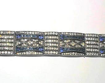 Gorgeous Antique Sapphire Blue And Sparkling Clear Rhinestone Pave 7.5 in Bracelet Xlnt Cond