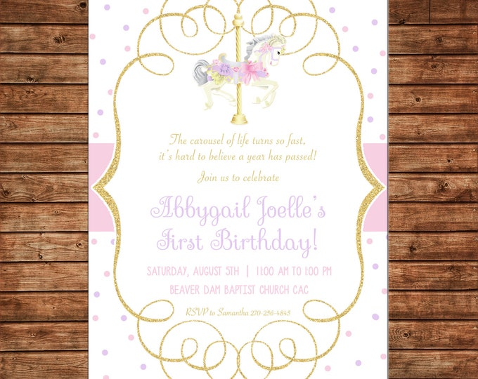 Girl Invitation Watercolor Glitter Gold Carousel Horse Birthday Party - Can personalize colors /wording - Printable File or Printed Cards